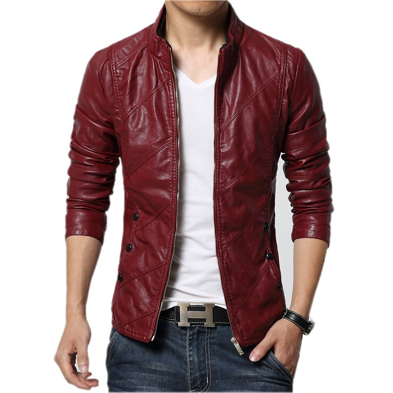 2016 Fashion Brand Men's Red Leather Jackets Male Autumn Winter Mens Faux Fur Windbreak Coats Slim Fit Motorcycle Suede Jacket(China (Mainland))