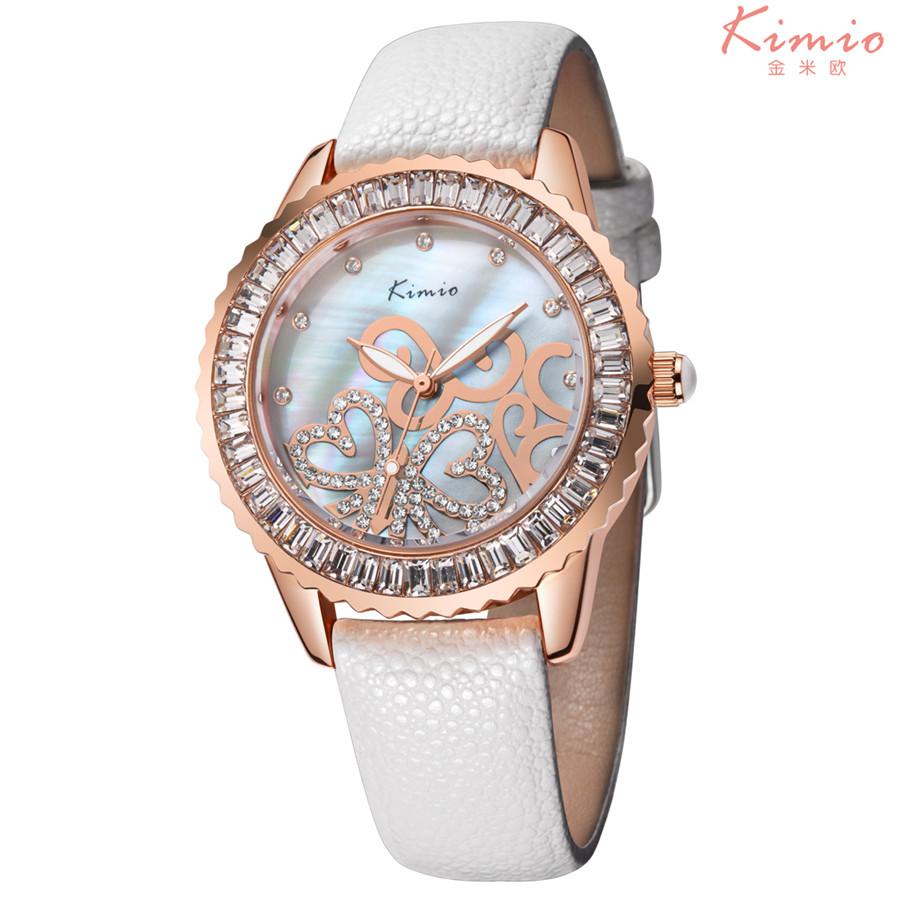 2016 Kimio Brand Relojes Femininos Luxury Rhinestones Watches Women Genuine Leather Display Ladies Quartz Watch Clock Hour K519(China (Mainland))