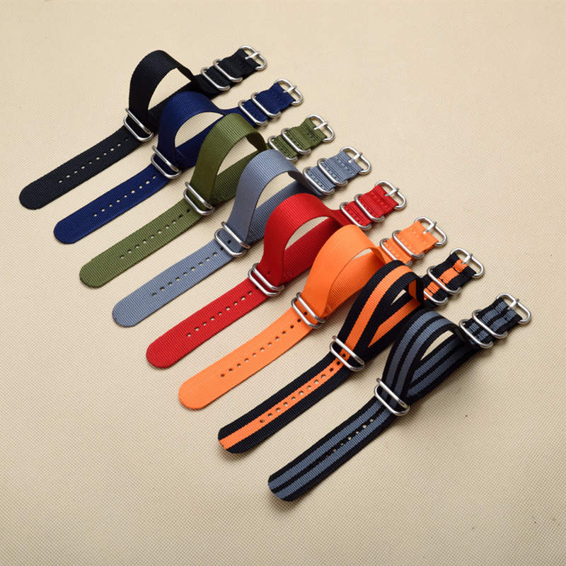 New 5 Ring Watchband Military Quality Nylon ZULU NATO 16mm 18mm 20mm 22mm 24mm G10 Watch Strap Black Multiple color selection(China (Mainland))