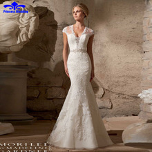 Buy Luxury custom Made Hot Sale Sexy Lace Mermaid Wedding Dresses 2017 Court Train Cap Sleeve Bridal Gowns Vestido de noiva V-neck for $190.08 in AliExpress store