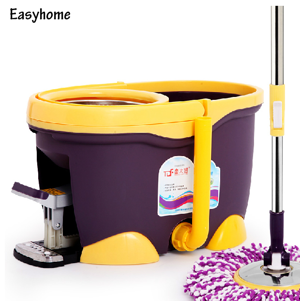 Free Shipping easyhome four(4 drive Luxurious magic mop & 6 pcs free mop head,Upscale foot drive durable spin mop,360 degree mop(China (Mainland))