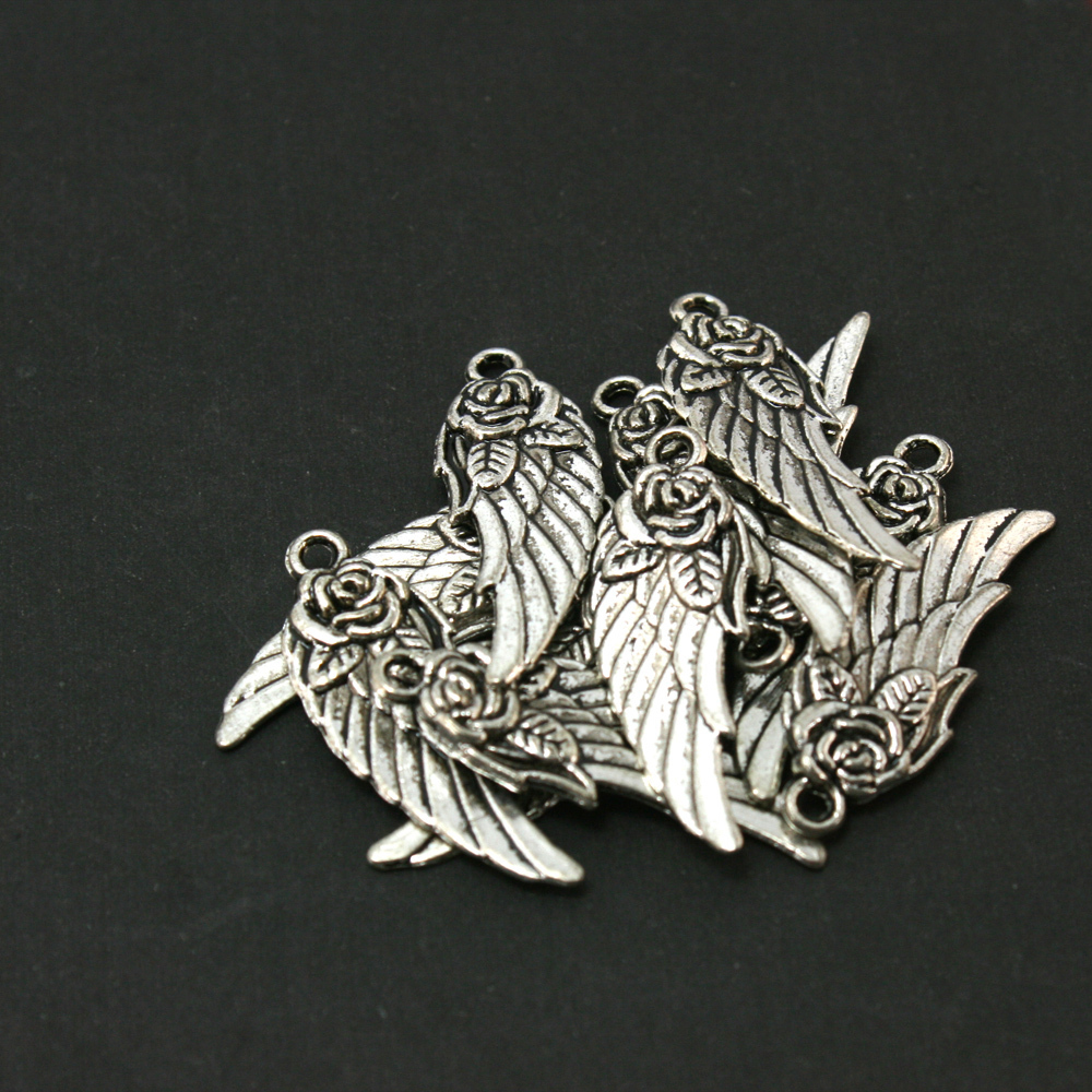 50Pcs/lot Antique Silver-Plated Wings Charms Alloy Pendant Fit Jewelry Making CN-BJI704-69(China (Mainland))