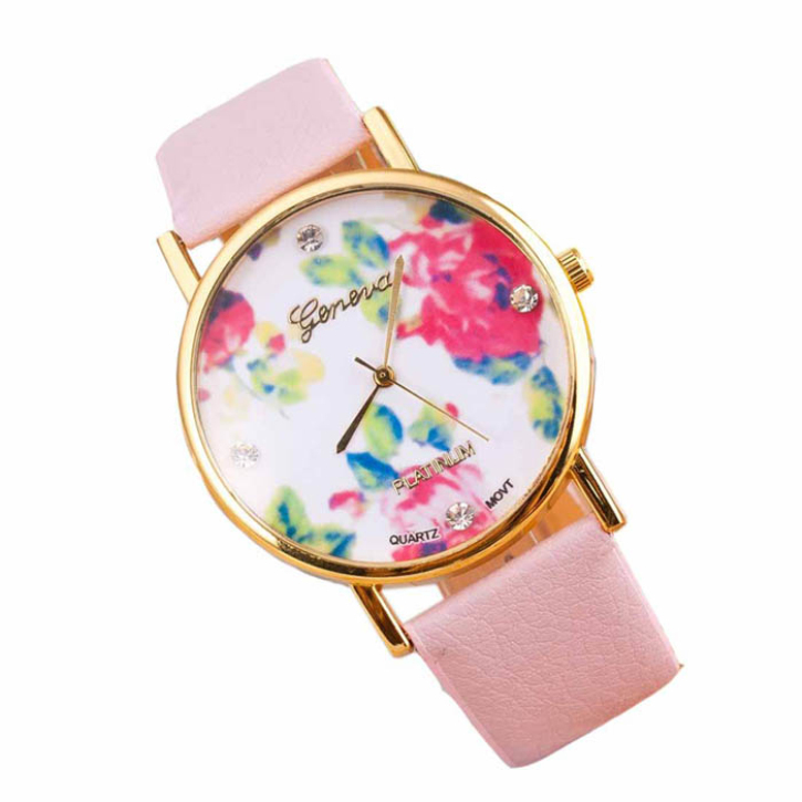 New Fashion Beautiful Rose Flower Women Dress Stylish Casual Quartz Watches Perfect Gift<br><br>Aliexpress