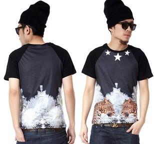 2013 European fashion T-shirt in the streets,Print cheetah cotton T-shirt,big size large size casual t-shirt