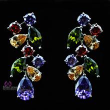 BRIAN New 2015 Fashion Jewelry Cubic Zircon Drop Earrings Long Bridal Wedding Flower Earrings for Women free shipping RE0466(China (Mainland))