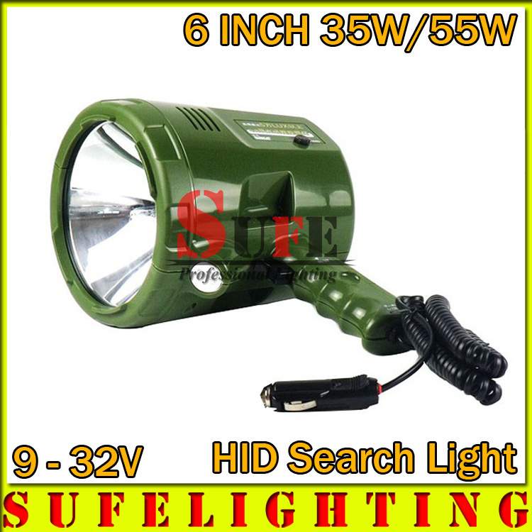 "2015 New 6"" 35W 55W HID search light Outdoor spotlight Rechargeable Hunting handheld Light 9-32V HID WORKING DRIVING LIGHT(China (Mainland))"
