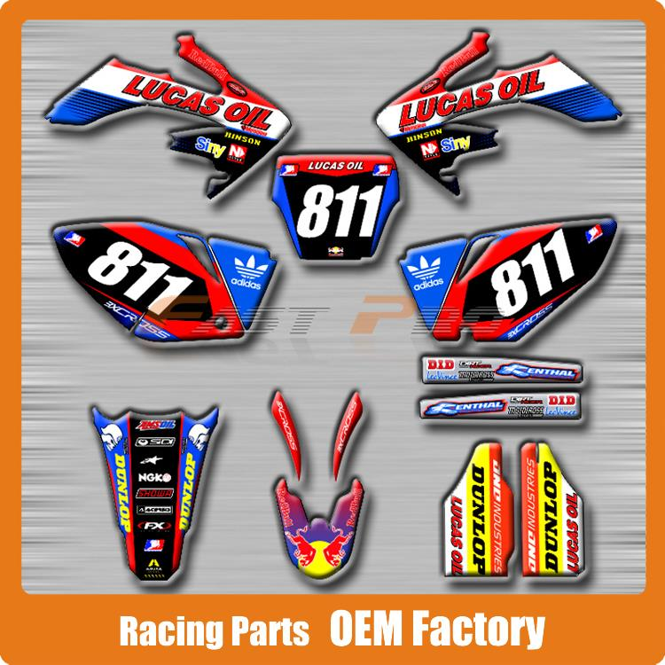 Customized Team Graphics & Backgrounds Decals 3M Stickers Lucas Oil CRF CRF250R 2004 2005 Motocross Enduro Supermoto