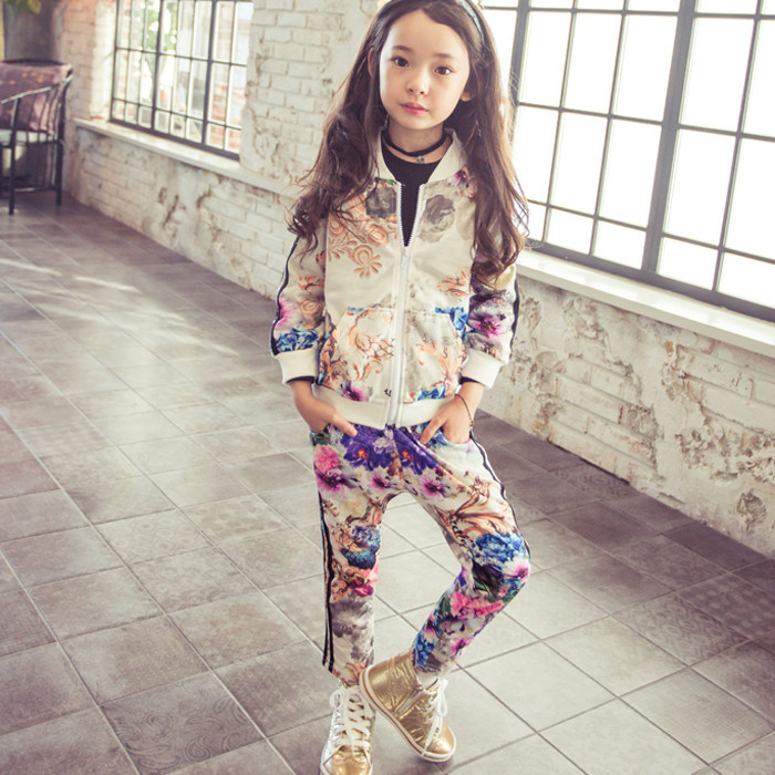 Girls sport set floral jackets+pants 2 pieces autumn fall spring girls boutique clothing sets korean children(China (Mainland))