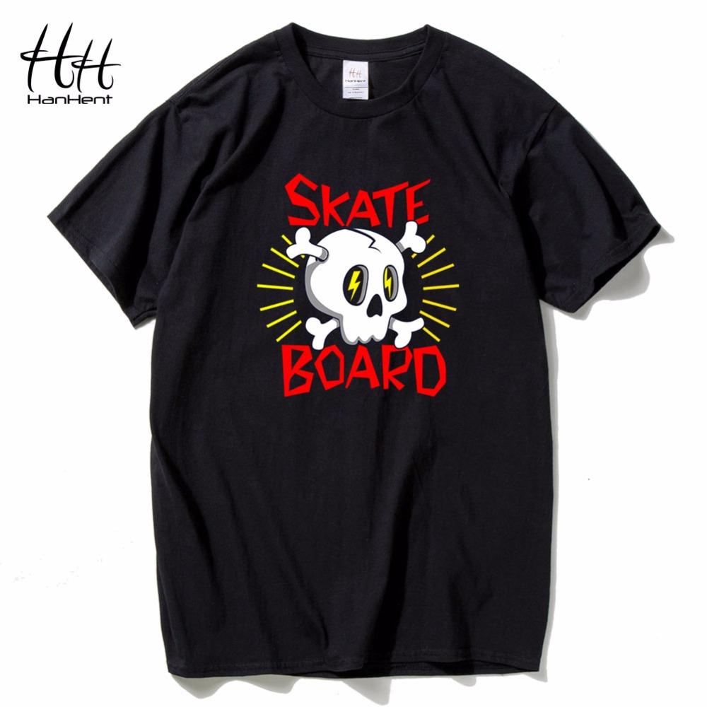 Free t-shirt design - Hanhent Skateboard Skull Logo Printed T Shirts Cotton Round Collar Tops 2016 Men Brand Clothing New T Shirt 3d Fitness Tshirt