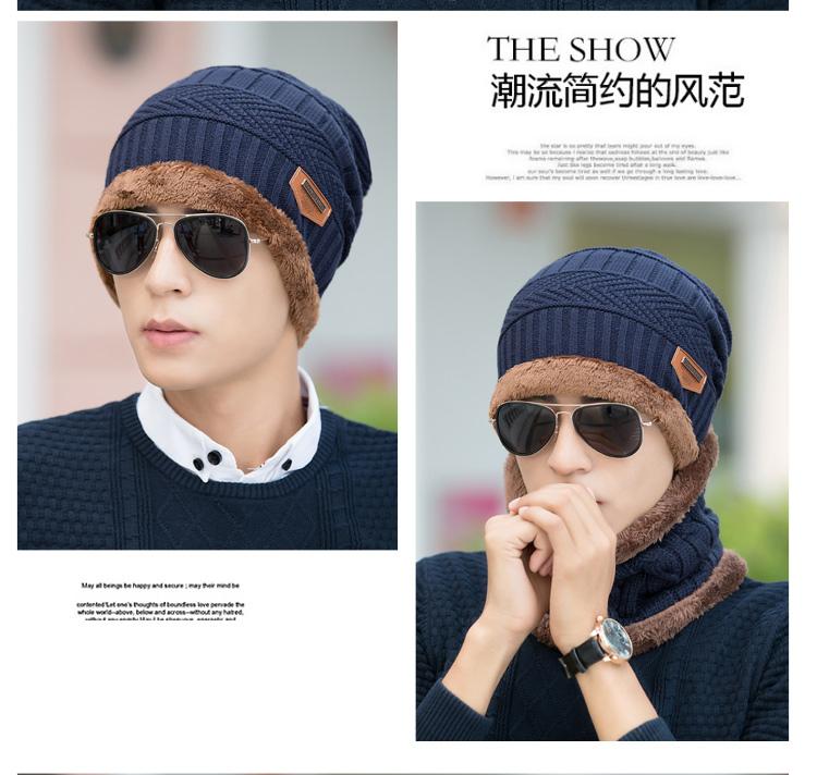 wholesal 2pcs knit scarf cap neck warmer Winter Hats For Men women Outdoor Sport Baggy Beanies Fleece Knit Bonnet Hat balaclava