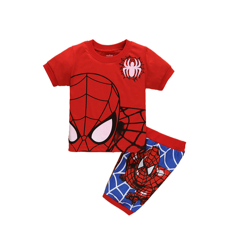 Boys Red Spiderman Clothes Clothing Set Summer Short Cotton T-shirt Pants Two pieces Student Birthday age 2 3 4 5 6 7 years