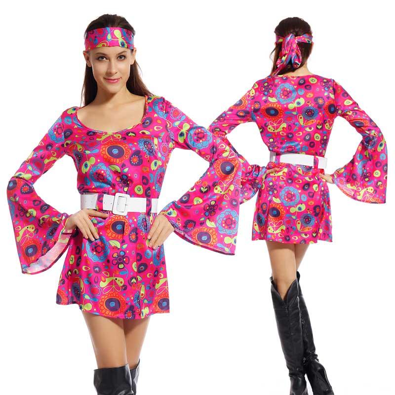 Adulte 60 s 70 s groovy lady hippie flower power femmes ladies costume
