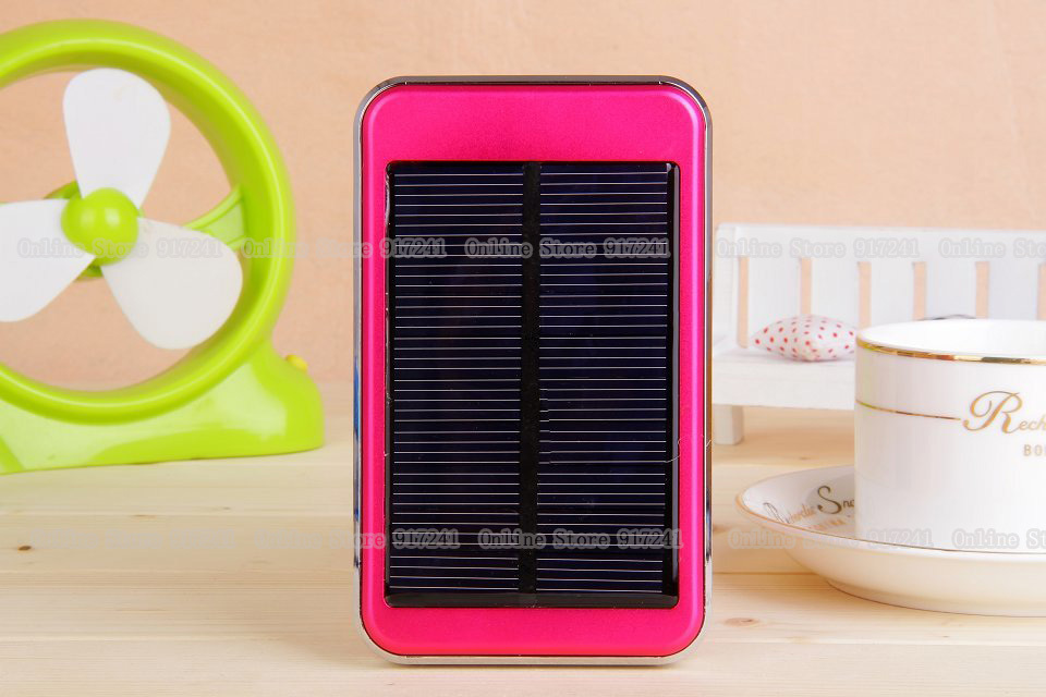 Pink Portable rechargeable external battery usb 48000mah solar charger mobile power bank for iphone Samsung HTC smart phone(China (Mainland))