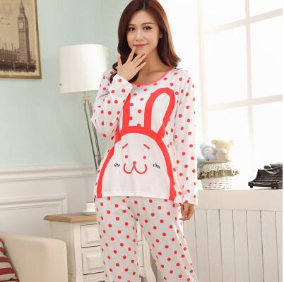 Women autumn winter long-sleeved pajamas cartoon rabbit Sleepwear with dots cotton modal casual home clothes(China (Mainland))