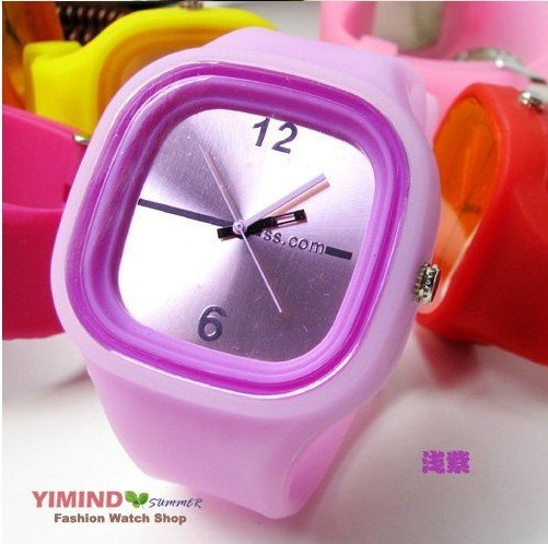 5pc/lot, free shipping HOT! Purple Jelly Watch multicolor Fashion Funny Unisex Watch W4