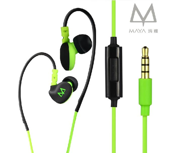 Sports Earphones Running Waterproof Sweatproof IPX5 with mic in-ear earhook Music Headset Mobile Stereo Bass Sports-Fi Maya S6(China (Mainland))