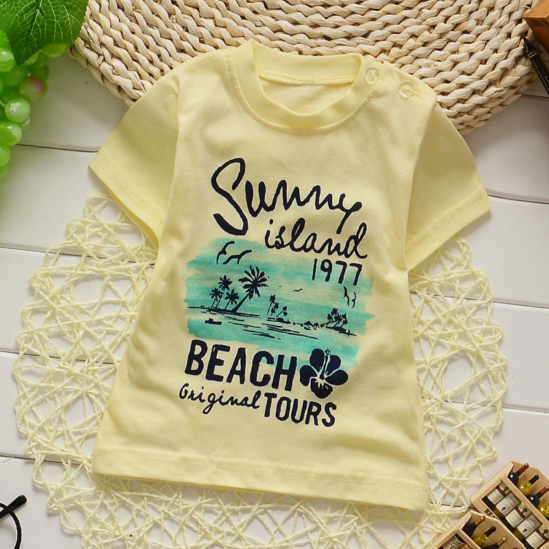 Brand 2016 Boys cotton t-shirt holiday summer children's casual Beach tours English letters printed clothing for 0-3 years(China (Mainland))