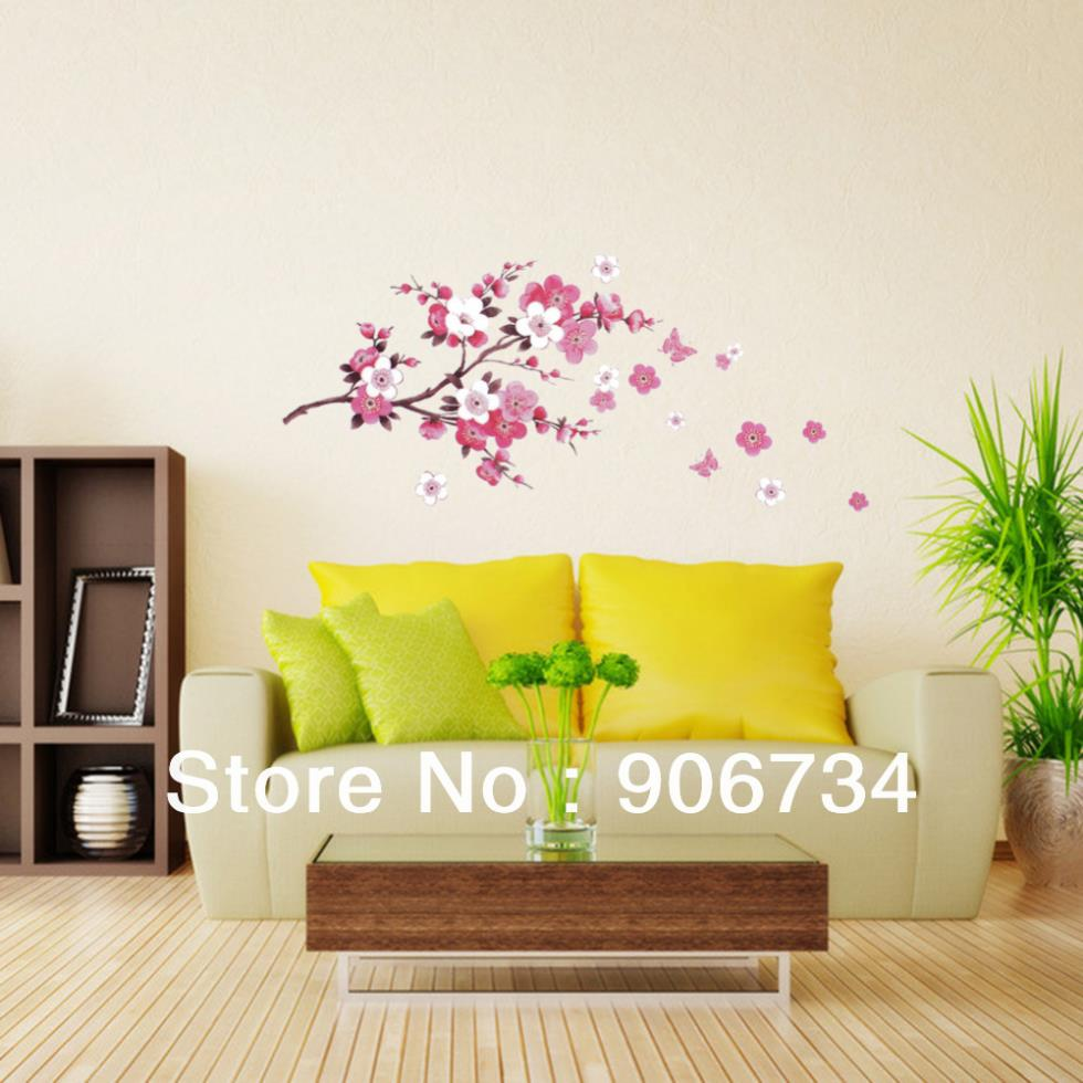 Cherry peach blossom flower butterfly removable wall for Temporary wall art