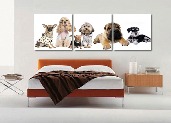 Small animal lovely cute dogs fresh picture modern brief decor painting wall painting no frame free shipping canvas painting(China (Mainland))