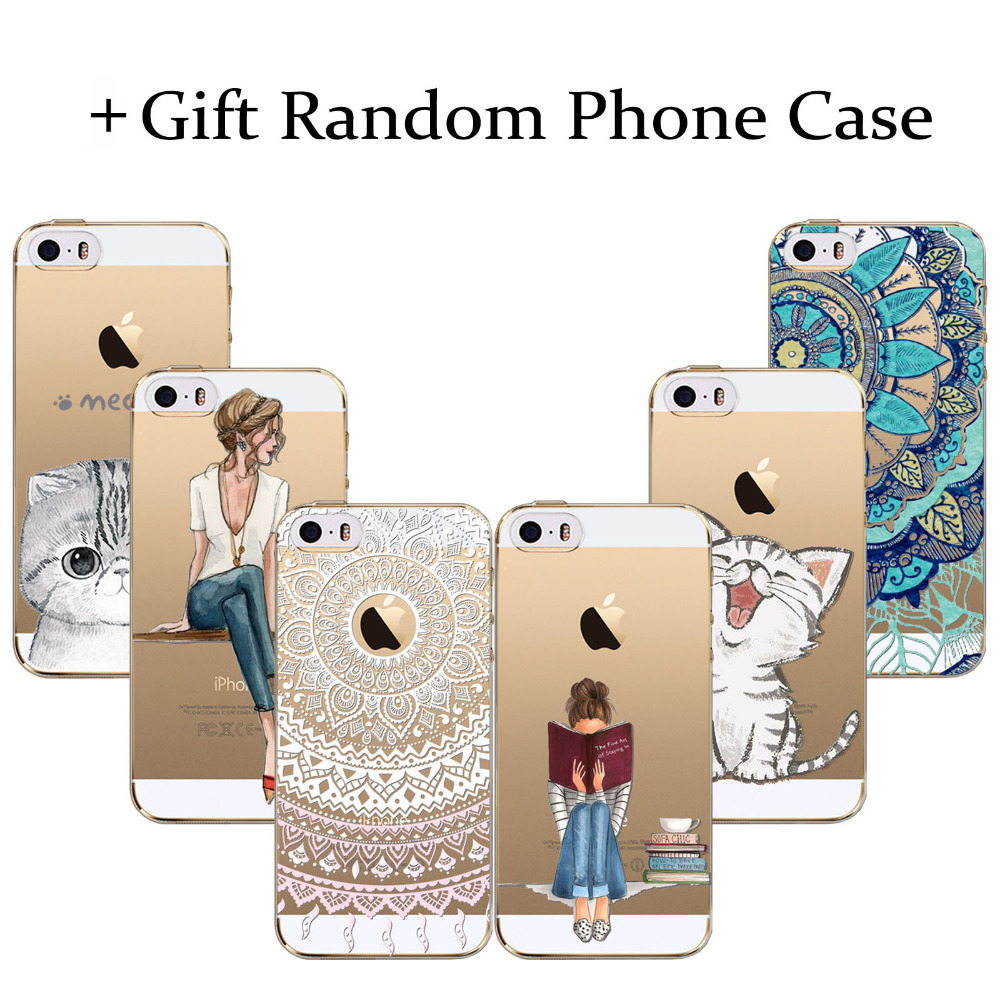 Buy 1 get 2 Phone Cases For iPhone 5c Cute Cat beauty girl Floral Paisley Clear Soft Silicon Coque Capa (gift Random Phone case)(China (Mainland))