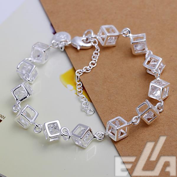 New fashion Charm Box bracelets & bangles silver plated Clear cube rhinestone for women men wholesale 20CM-27CM Adjustable(China (Mainland))