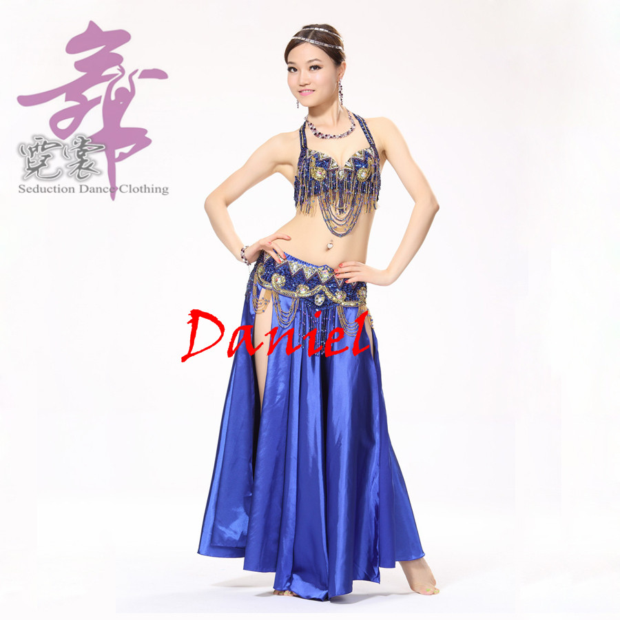 Belly Dance Clothing Oriental Style Beads Clothing Set with Satin Long Skirt Costumes for DancingОдежда и ак�е��уары<br><br><br>Aliexpress