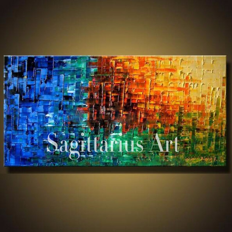Buy Hand Painted High Quality Seascape Wall Art Modern Palette Knife Painting Abstract Oil Painting Canvas Wall Living Room Artwork cheap
