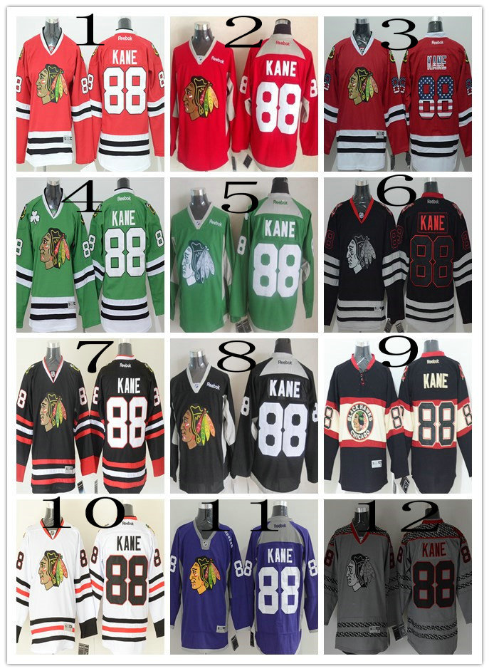 2015 Cheap Chicago black hawks Ice Hockey Jerseys #88 Patrick Kane jersey Finals Best NWT Embroidery Logos Jersey Size:M-XXXL(China (Mainland))