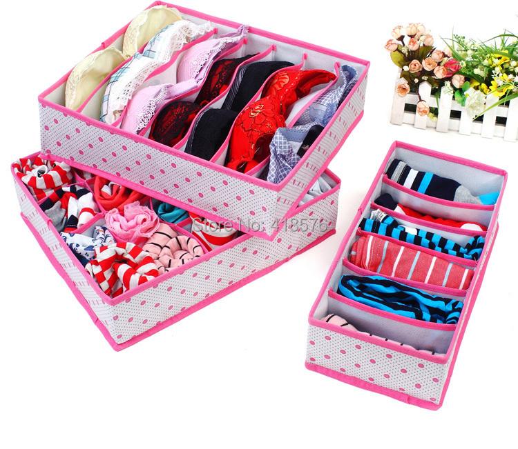 3Pcs In Set Rose Pink Dot Non-woven Design Home Folding Storage Box For Underwear Sock Bra Ties Organizer(China (Mainland))