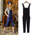 plus size women summer style 2016 bermuda feminina blue black suspenders haroun pants casual pants jumpsuits