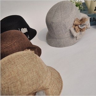 Spring and summer fashion women's linen fedoras flower bucket hat bucket hats Women fashion cap quinquagenarian hat