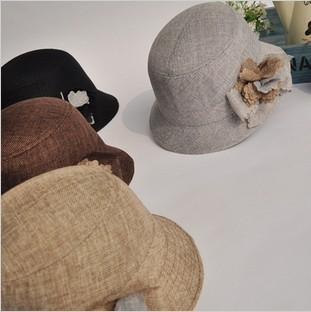 Spring and summer fashion women's linen fedoras flower bucket hat bucket hats Women fashion cap quinquagenarian hat