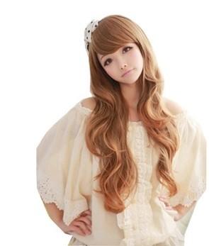 2014 New Women's Fashion Girl Long Wavy Hair Oblique Bang Full Wig - NORWICH CITY INTERNATIONAL CO,LTD store
