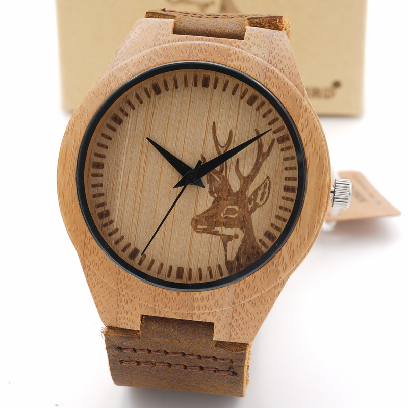 Fashion New Genuine Cowhide Leather Band Lovers Luxury men Watches men Wood Bamboo Wristwatch with deer