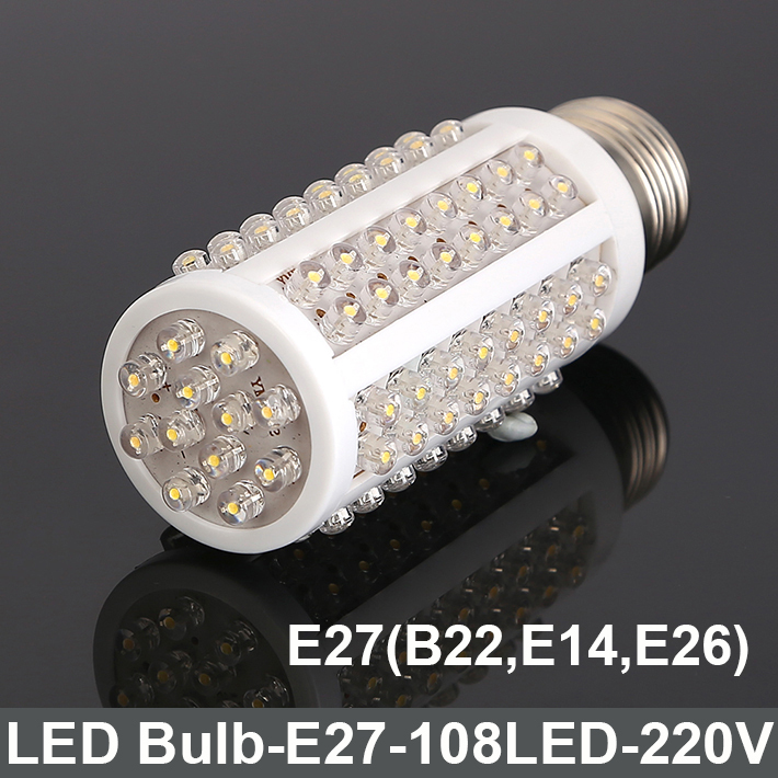 LED Straw Corn Bulb lamp 108 LED E27 7W Warm/cool White Corn Light Bulb 220V for Living room Bedroom study Home lighting(China (Mainland))