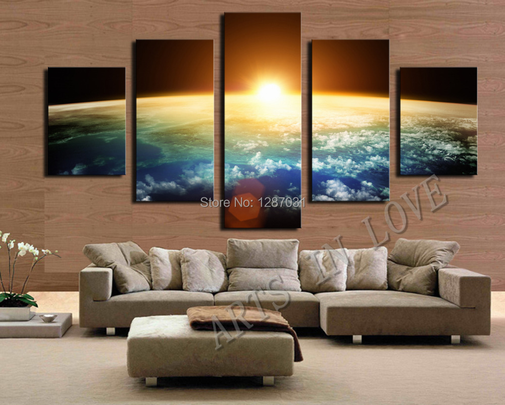 5 Piece Hot Sell Sunrise Modern Home Wall Decor Canvas picture Art HD Print Painting Set of 5 Each,Canvas arts Unframe(China (Mainland))