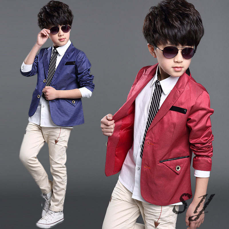 Boy Tuxedo Kid Formal Teenager Boy Blazer Children Boy Blazer Jacket Solid Color Classic Fashion ...