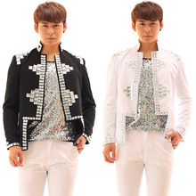 Customized Black/White Men's Jacket Handmade Rhinestones Slim Casual Costume Male Singer Dj Stage Wear Performance Outerwear(China (Mainland))