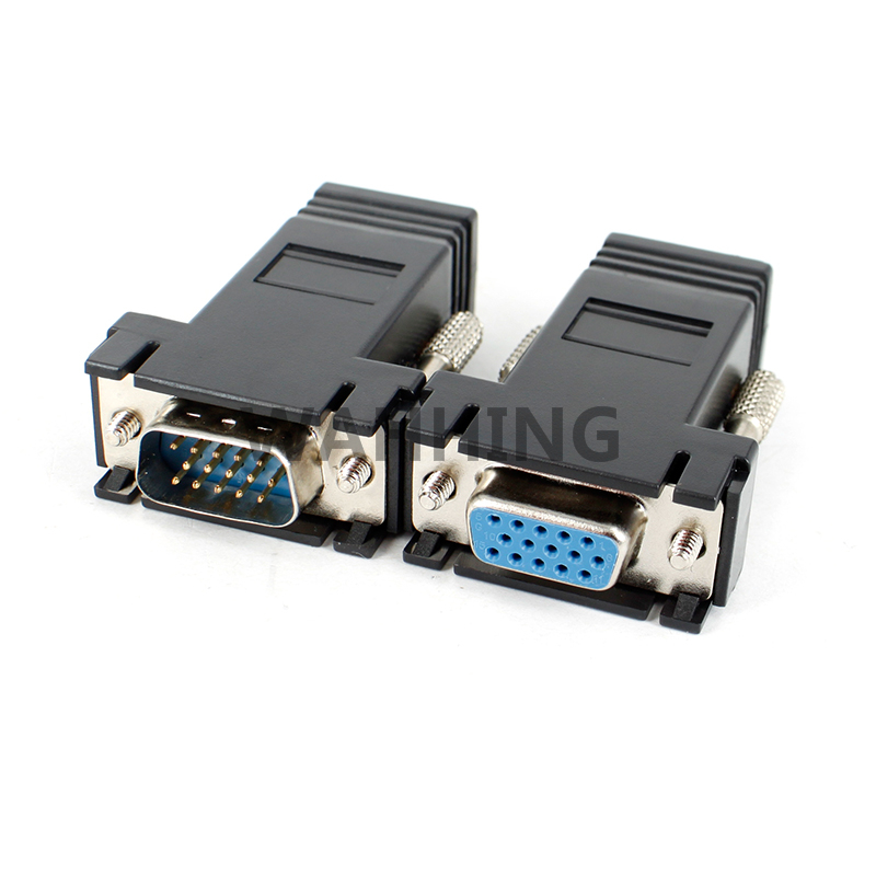 1pair LAN CAT5 CAT5e CAT6 RJ45 Network Cable Adapter to VGA Cable Adapter RJ45 VGA Extender Connector Female & Male HY378+1034(Hong Kong)