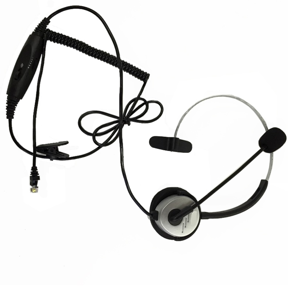 RJ11 Telephone Headset Noise Cancel Earphone Auriculares Adjustable Volume For Desk Phones With Microphone For Walkie Talkie(China (Mainland))
