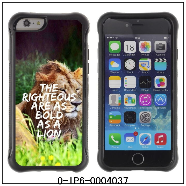 "Newest For 4.7"" iPhone 6,Hybrid Heavy Duty Shockproof Ballistic Case-THE RIGHTEOUS ARE AS BOLD AS A LION(O-IP6-0004037)(China (Mainland))"