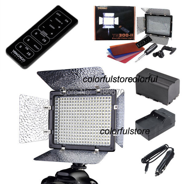Free Ship YN-300II YN300II Led Video Light + NP-F750 F770 Battery + Car Charger + IR Remote For Canon Nikon Pentax SLR Camcorder(China (Mainland))
