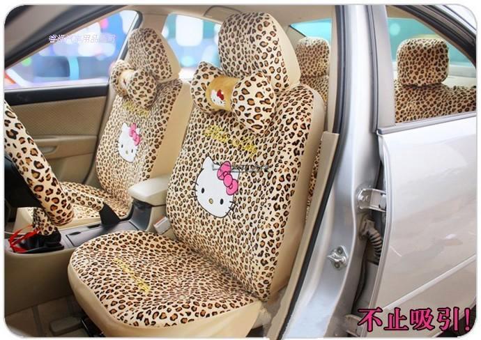 18pcs/set Hello Kitty Leopard Point Auto Car Seat Cover Plush Leopard All car Universal seat Z2ED007<br>