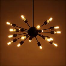 Nordic American rural iron industry LOFT retro style restaurant bar creative personality 18 satellites chandelier lamp lighting