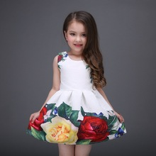 2016 Summer Style Dresses For Girl peony Flower Printed Sleeveless Formal Girl Dresses Teenagers Party Dress girl Free Shipping