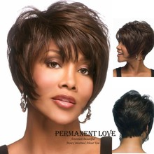 African american celebrity wigs natural black Straight hair short wigs for black Women synthetic hair fluffy wigs with bangs