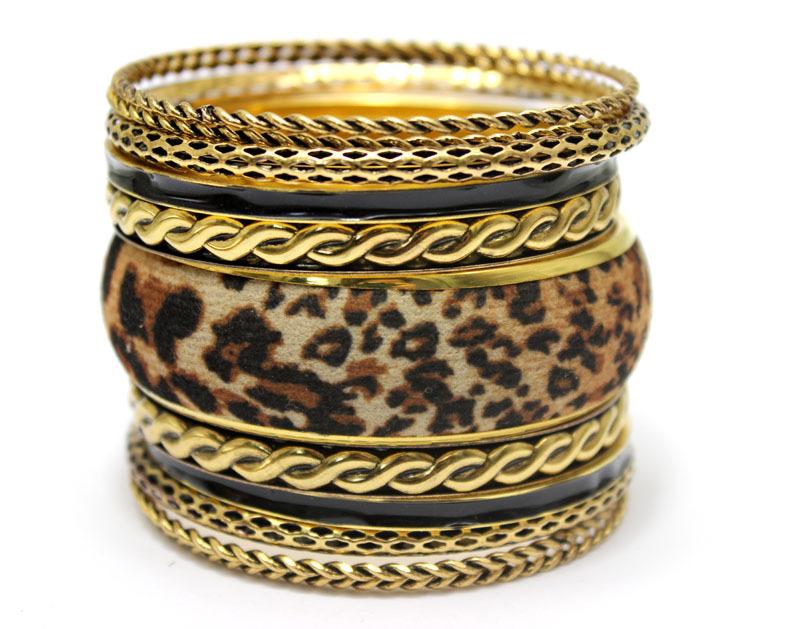 LADYMEE Bracelet Pulseiras Indian Jewelry Antique Gold Bracelets for Women Leopard Black Enamel Bracelet Jonc Bracelets Bangles(China (Mainland))