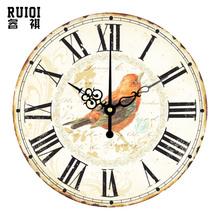 large decorative wall clocks roman numerals vintage home decor quartz watch wall retro wall decals clocks orologio parete(China (Mainland))