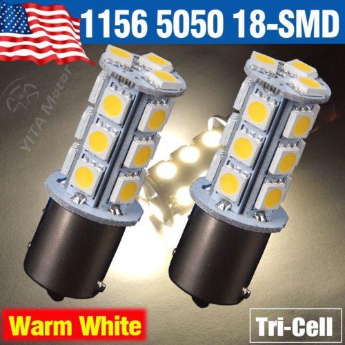 2Pcs Car Light Lights Warm White led Car Bulbs 1156 BA15S 18-SMD 5050 LED Turn Signal Backup Reverse LED Light Lamps for Kia -A(China (Mainland))