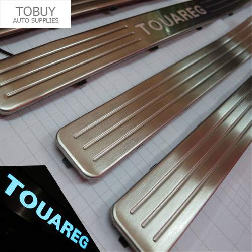 For  VW Touareg 2007-2010 LED Scuff Plate Stainless Steel Door Sills Guards Thresholds Pad Tread Plate Welcome Pedal<br><br>Aliexpress